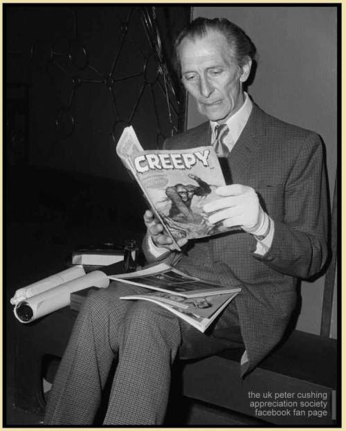 lustfordracula:  madameerica:  Peter Cushing reading a monster magazinePCASUK  Looks creeped out