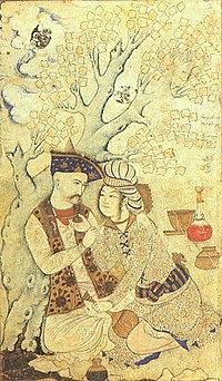 Shah 'Abbas and a page boy, by Muhammad Qasim (1627)