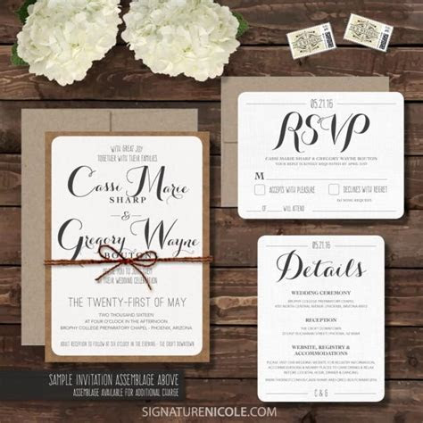 Rustic Wedding Invitation With RSVP And Detail Cards