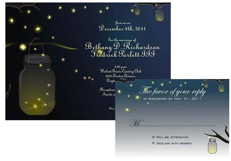 Mason Jar Fireflies Wedding Invitation And RSVP Printable