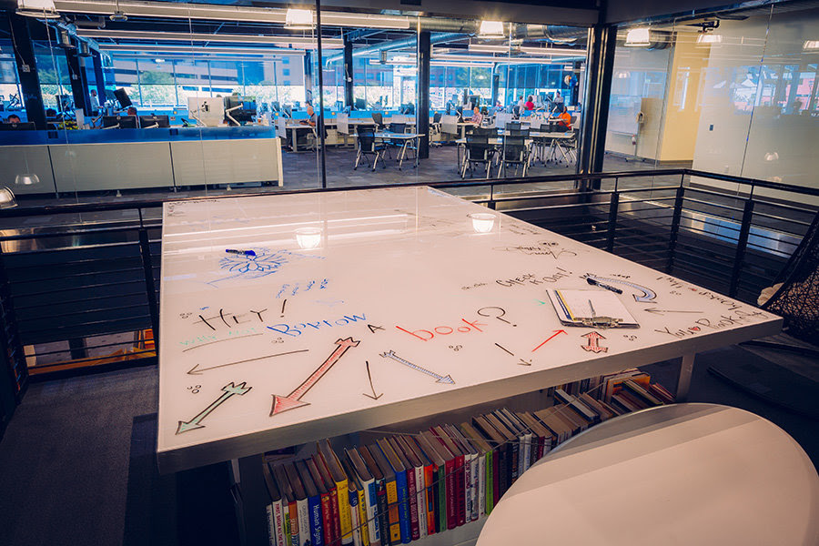 Whiteboard tabletops and morphing conference rooms are made for collaborative work. Among the many pieces of recycled material from the Dillon Supply warehouse incorporated into the new Citrix building are several railroad ties that form the bases for glass-topped conference tables.