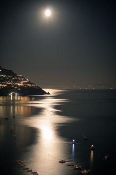 Moon over Positano, Italy