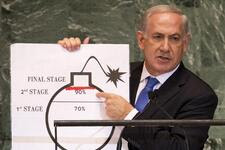 Prime Minister of Israel Benjamin Netanyahu uses a diagram of a bomb to describe Iran's nuclear program during an address to the 67th United Nations General Assembly on Sept. 27, 2012, in New York.