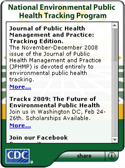 CDC National Environmental Public Health Tracking Program. Flash Player 9 is required.