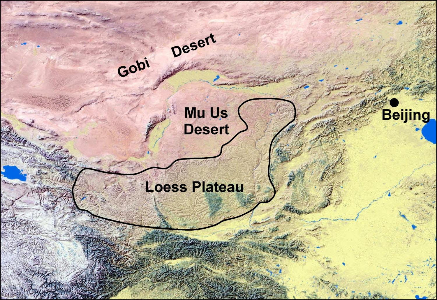 Mu Us Desert Map Mu Us Desert China Map
