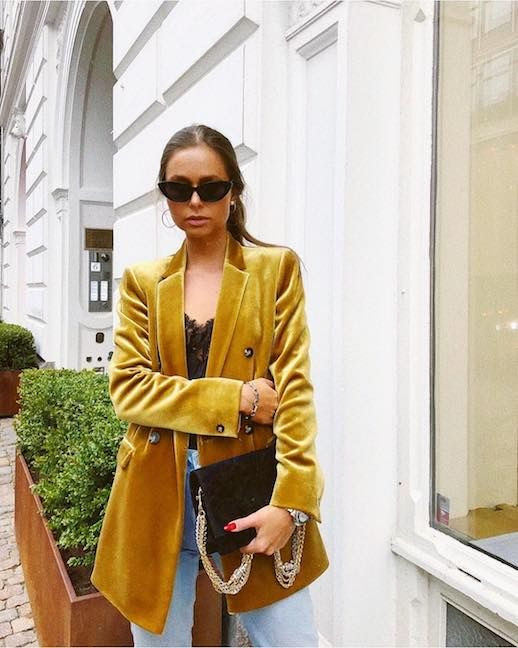 Le Fashion Blog Shop 9 Of The Best Velvet Blazers Mustard Yellow Blazer Via @mariakragmann