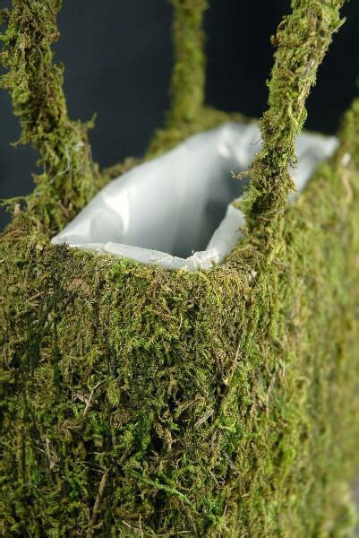 Natural Preserved Moss Covered Purse Planter 8 3/4in