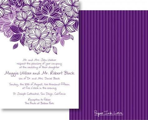 Wedding Invitations With Modern Purple Flower & Pinstripes