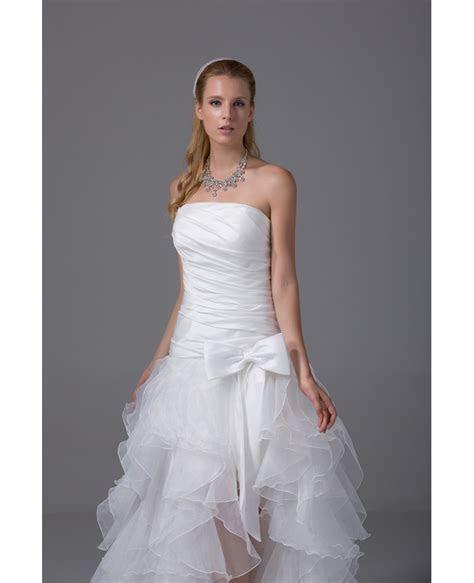 Beach White High Low Wedding Dresses 2017 Bow Sash Short