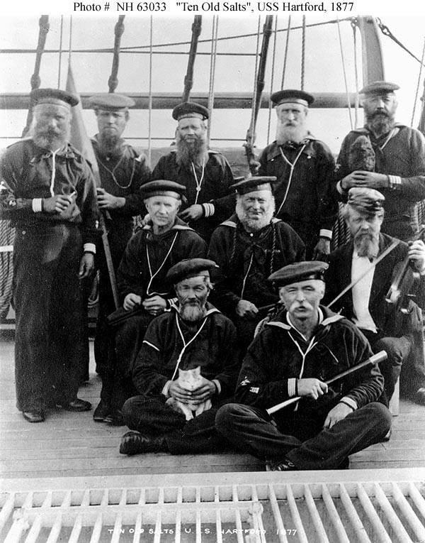 USS Hartford Schoolmaster James Connell at middle right with violin in 1877