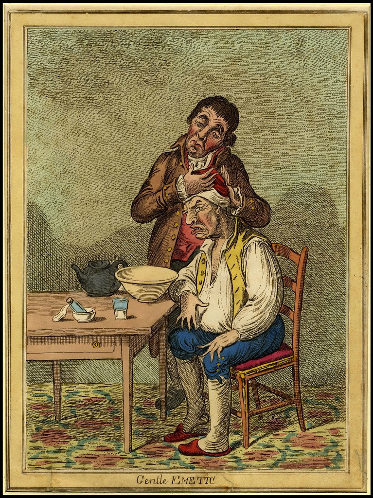distressed seated patient endures application of forehead poultice by physic