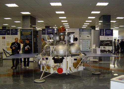 A full-scale mockup of the Fobos-Grunt lander.