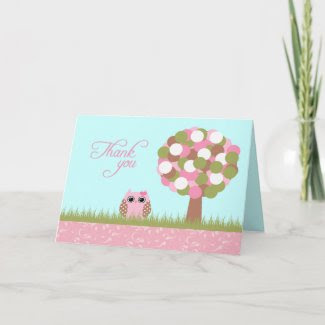 Cute baby shower pink owl tree thank you card