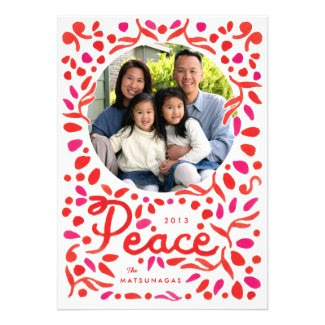 Peace Red Nature Watercolor Photo Card