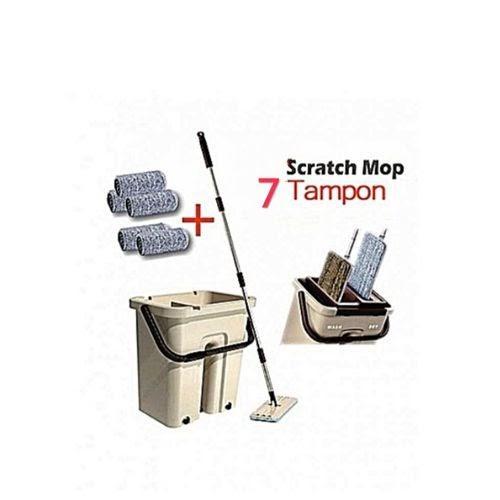 Autonettoyant vadrouille magique Scratch IP Mop avec seau et 7 tampon
