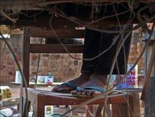 A worker's feet