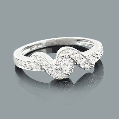 Cheap Engagement Rings: Sterling Silver Diamond Ring 0.25ct