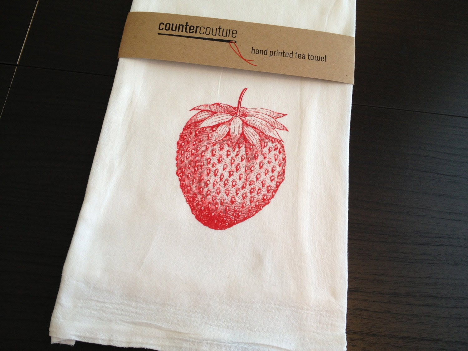 Strawberry Screen-Printed Cotton Flour Sack Tea Towel | Counter Couture Design Shop | Etsy