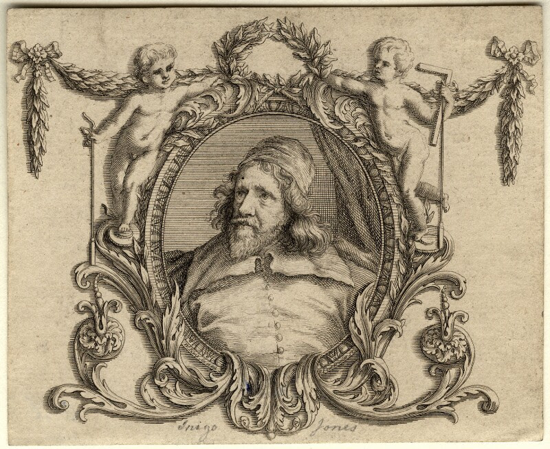 Inigo Jones, by Paul Fourdrinier, after  Sir Anthony van Dyck, published 1727 (circa 1632-1635) - NPG D10967 - © National Portrait Gallery, London