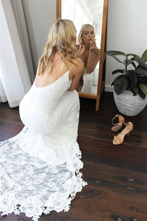 Romantic Boho U Neck Wedding Dress Backless Lace Mermaid