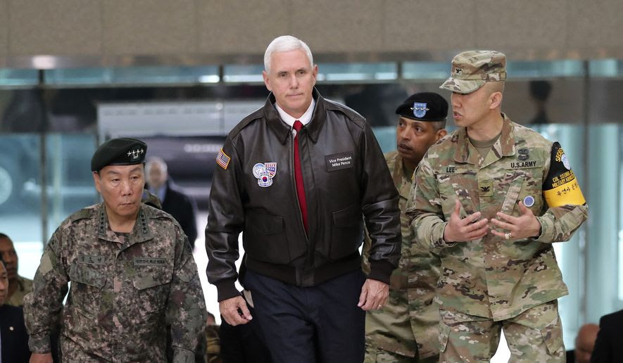U.S. Vice President Mike Pence arrives at the border village of Panmunjom in the Demilitarized Zone (DMZ) which has separated the two Koreas since the Korean War, South Korea, Monday, April 17, 2017. (AP Photo/Lee Jin-man)