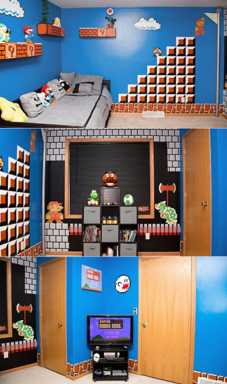 Dad Creates Super Mario Bros Themed Room for Daughter