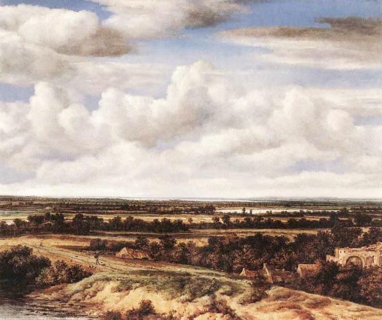 Philips Koninck, Weite Landschaft mit einer Straße bei einer Ruine