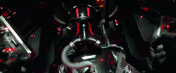 The TIE Fighter pilot fires mercilessly at the Millennium Falcon in STAR WARS: THE FORCE AWAKENS.