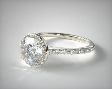 Pave Halo and Shank Diamond Engagement Ring (Round)   14K