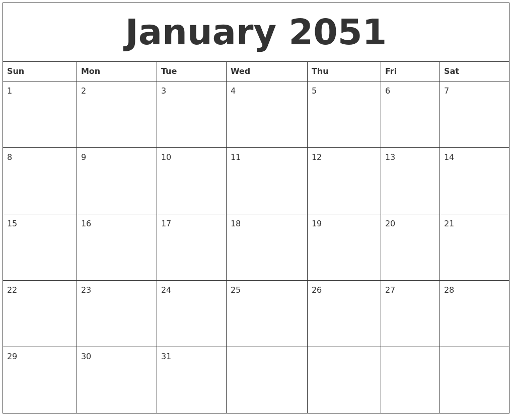 january 2051 month calendar template