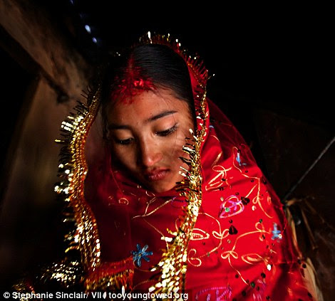 Sumeena Shreshta Balami, 15, leaves her home to meet her groom, Prakash Balami, 16, in Kagati Village, Kathmandu Valley, Nepal