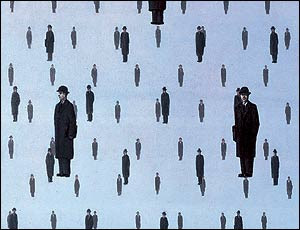 Image: Magritte's Golconde  Image©The Bridgman Art Library