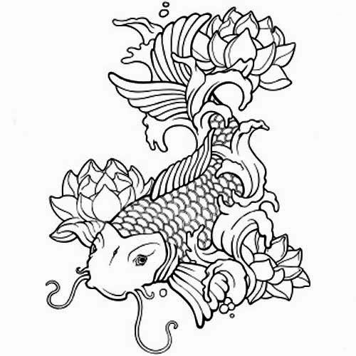 Koi Coloring Pages Carp Koi Fish Art Coloring Sheet