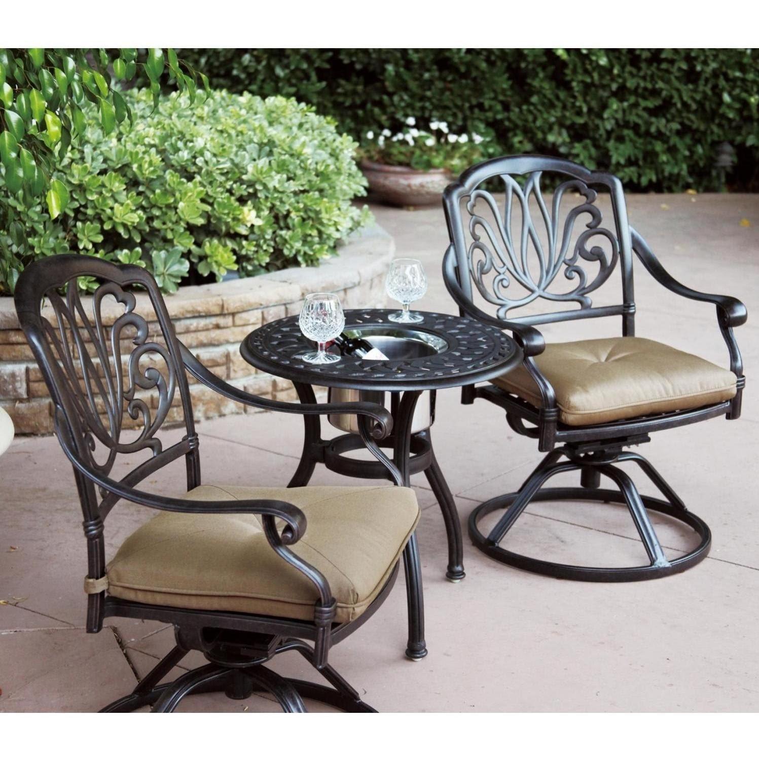 Patio Furniture Bistro Set Cast Aluminum Swivel Rocker 3pc ...