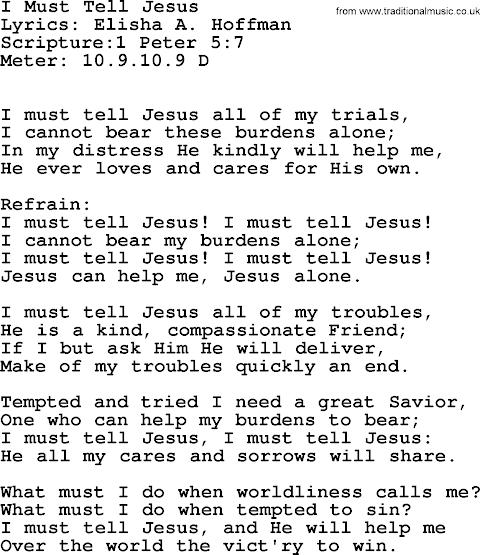 I Must Tell Jesus Lyrics Hymn