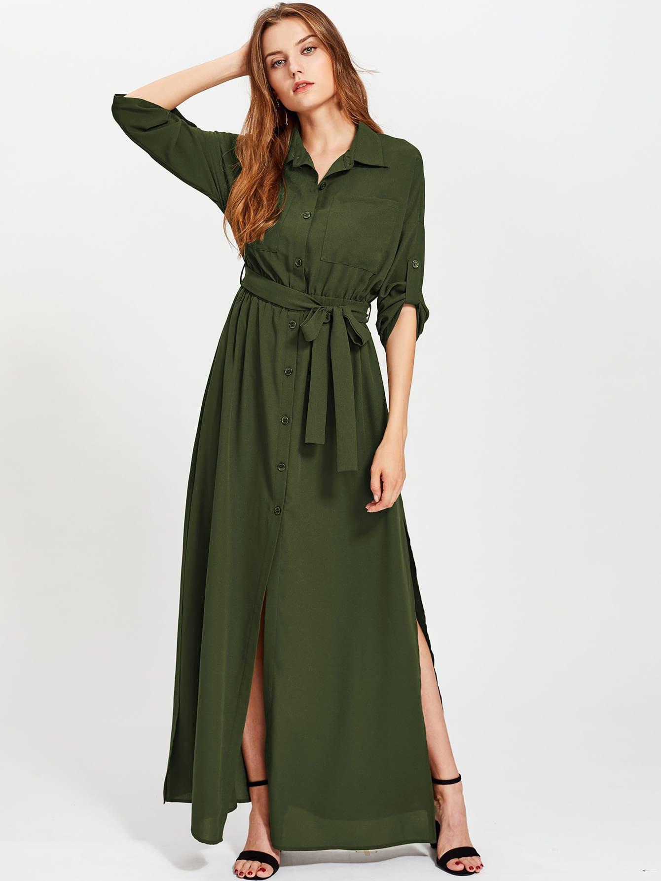 Side Slit Roll Tab Sleeve Long Shirt Dress