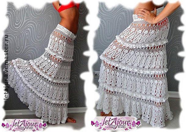 Elegantes largo gancho niveles falda 'Cascades nubes blancas'