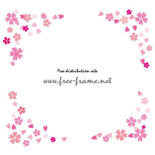ピンクの桜のイラストの円形フレーム枠 無料商用可能枠
