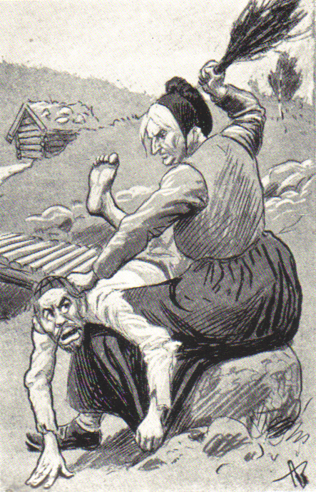 """Caricature from 1905 by Andreas Bloch in 'Korsaren': Johan Scharffenberg being spanked by """"Mother Norway"""""""