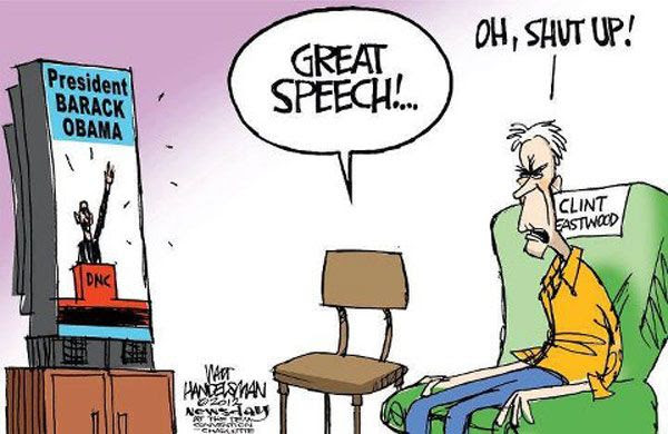Clint Eastwood and his new best friend watch the Democratic National Convention.