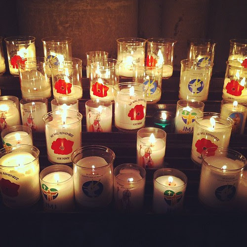 Candles for peace. Bayeux cathedral.
