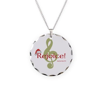 Santa Music Necklace Circle Charm
