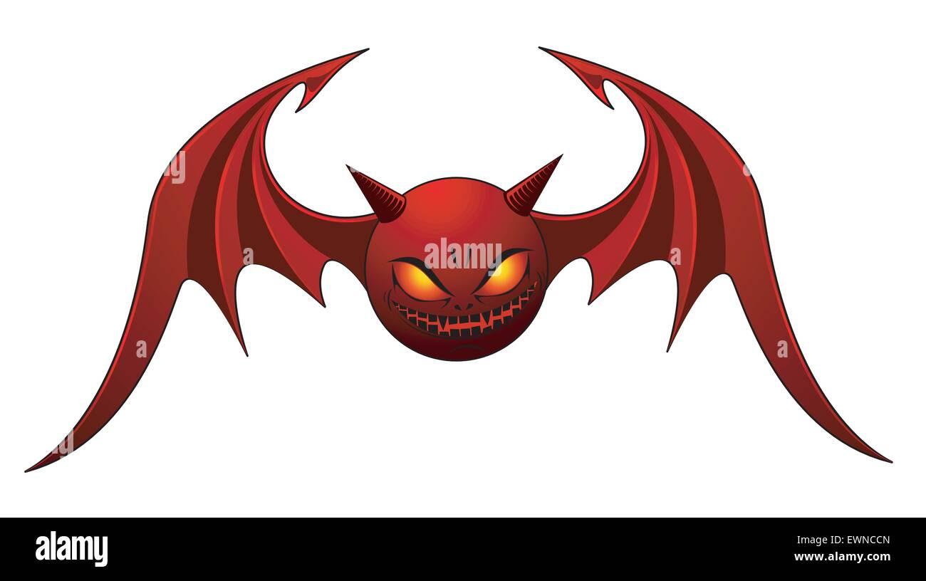Rote böse Fledermaus isoliert auf weiss Stockbild