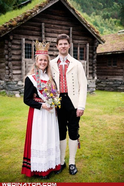 Traditional Norwegian wedding attire brides wear big