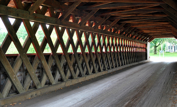 Inside view of the Henry Covered Bridge.