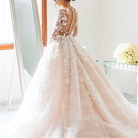 Ball Gown Jewel Long Sleeves Illusion Back Pearl Pink