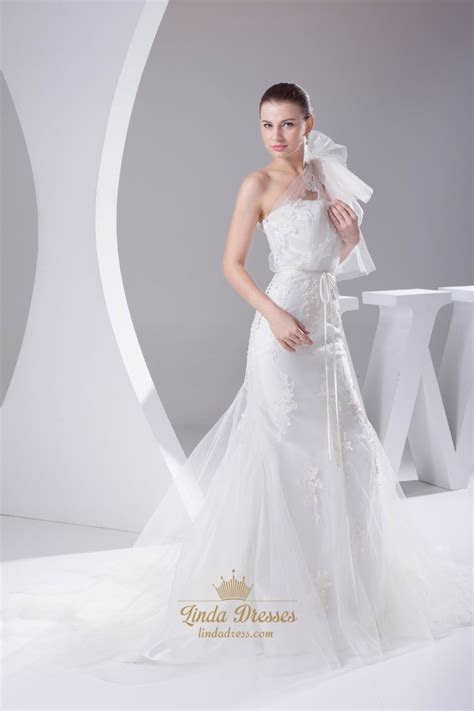 Ivory One Shoulder Tulle Mermaid Wedding Dresses With Lace