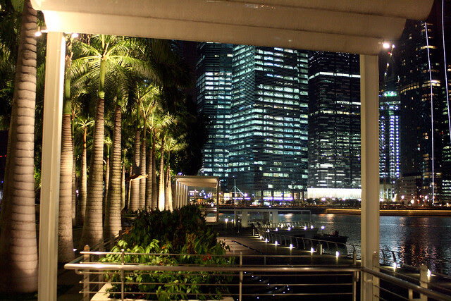 Gorgeous night view at Marina Bay Sands waterfront promenade