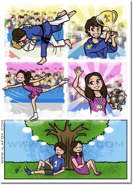 Convite em quadrinhos infantil, patinação, judô, menina e menino, quadrinhos by ila fox