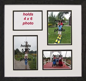 Collage Photo Frame 4 Opening 4x6 With 5x7 Black And White Picture Frame